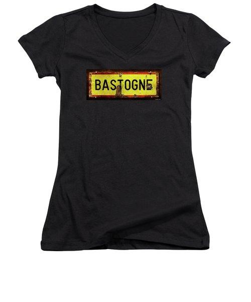 Wwii Bastogne Town Sign Women's V-Neck (Athletic Fit)