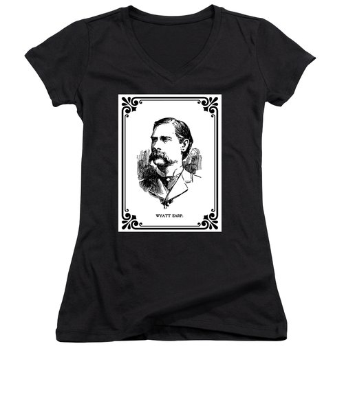 Women's V-Neck T-Shirt (Junior Cut) featuring the mixed media Wyatt Earp Newspaper Portrait  1896 by Daniel Hagerman