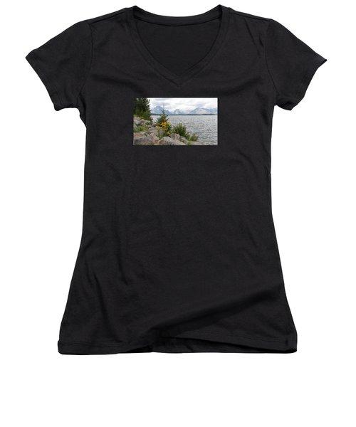 Wyoming Mountains Women's V-Neck T-Shirt (Junior Cut) by Diane Bohna