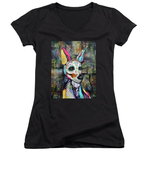 Xolo Mexican Hairless Day Of The Dead Women's V-Neck