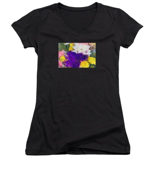 Xtreme Floral Eleven Purple And White Women's V-Neck T-Shirt