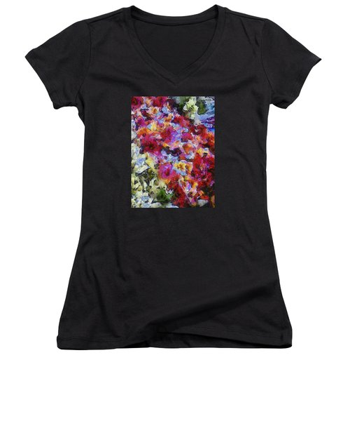 Women's V-Neck T-Shirt (Junior Cut) featuring the photograph Xtreme Floral Five Cascade by Spyder Webb