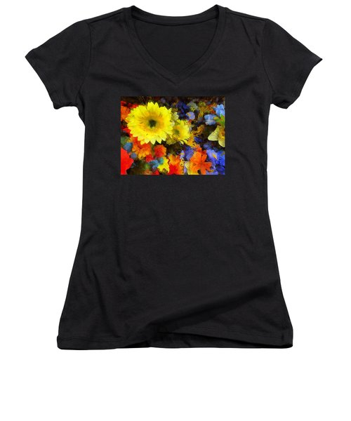 Xtreme Floral Seventeen Into The Depths Women's V-Neck T-Shirt (Junior Cut) by Spyder Webb