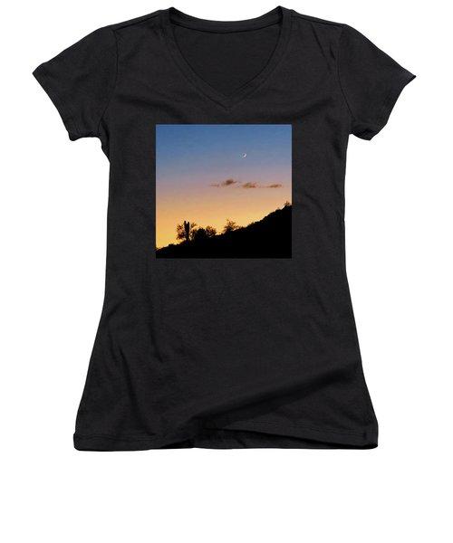 Y Cactus Sunset Moonrise Women's V-Neck T-Shirt