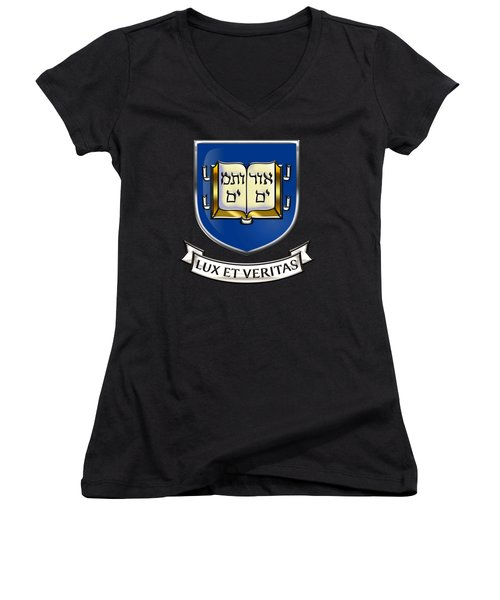 Yale University Seal - Coat Of Arms Over Colours Women's V-Neck T-Shirt (Junior Cut) by Serge Averbukh