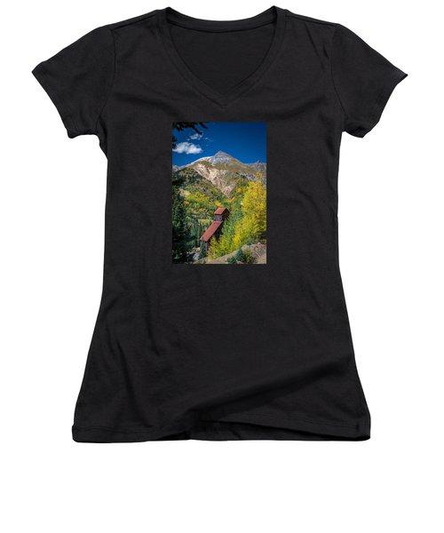 Yankee Girl Mine Women's V-Neck T-Shirt (Junior Cut) by Michael J Bauer