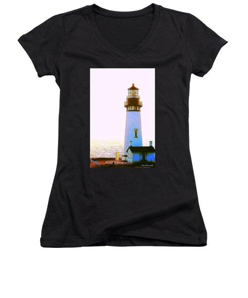Yaquina Head Lighthouse Women's V-Neck T-Shirt