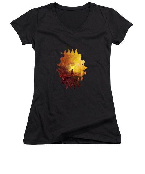 Women's V-Neck featuring the painting Ye Olde Mill by Valerie Anne Kelly