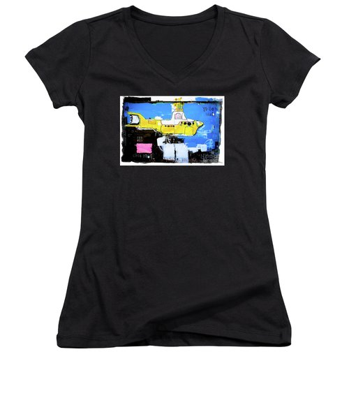 Women's V-Neck T-Shirt (Junior Cut) featuring the photograph Yello Sub Graffiti by Colleen Kammerer