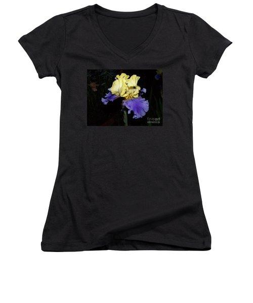 Yellow And Blue Iris Women's V-Neck T-Shirt (Junior Cut) by Kathy McClure