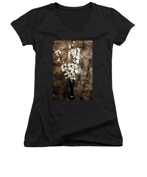 Yellow Bells Women's V-Neck T-Shirt (Junior Cut) by Gray  Artus