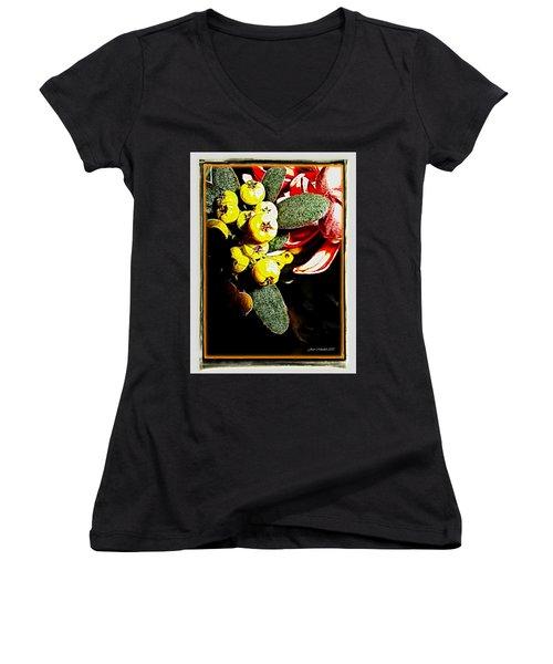 Women's V-Neck T-Shirt (Junior Cut) featuring the photograph Yellow Berries by Joan  Minchak