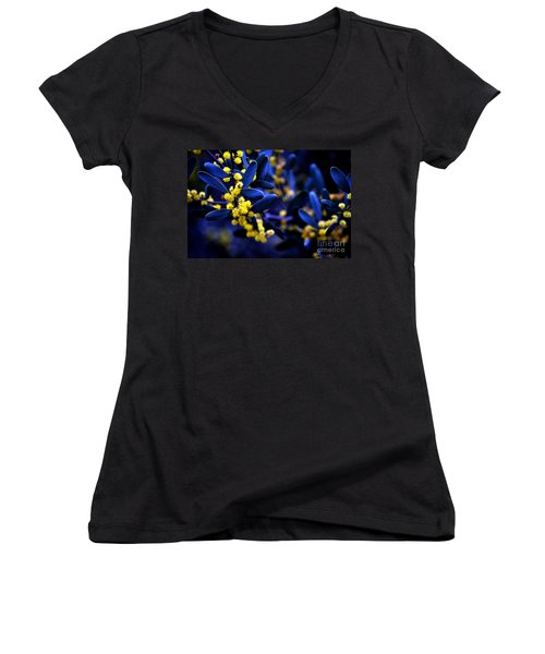 Yellow Bursts In Blue Field Women's V-Neck