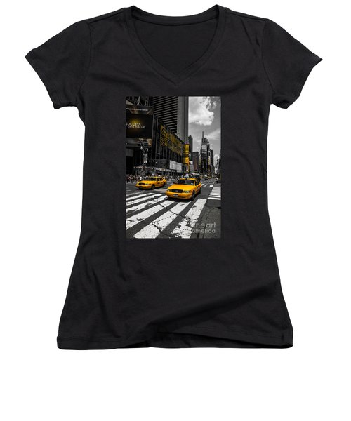Yellow Cabs Cruisin On The Times Square  Women's V-Neck