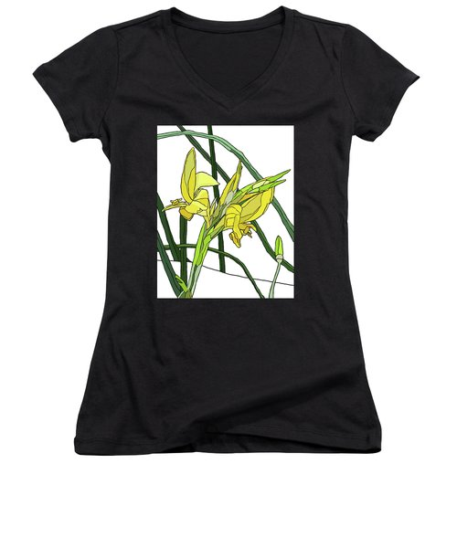 Yellow Canna Lilies Women's V-Neck T-Shirt (Junior Cut) by Jamie Downs