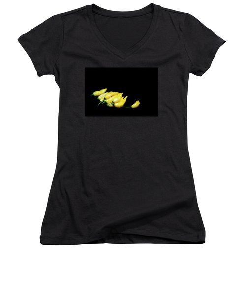 Yellow Chillies On A Black Background Women's V-Neck T-Shirt
