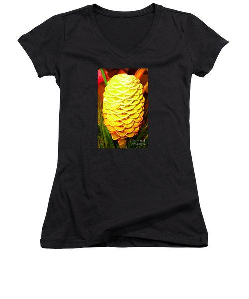 Women's V-Neck T-Shirt (Junior Cut) featuring the photograph Yellow Cone Flower No. 1 by Merton Allen