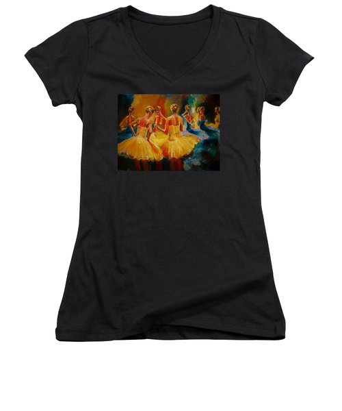 Yellow Costumes Women's V-Neck T-Shirt (Junior Cut) by Khalid Saeed