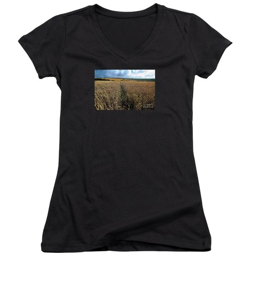 Women's V-Neck T-Shirt (Junior Cut) featuring the photograph Yellow Filds And Fluffy Clouds by Gary Bridger