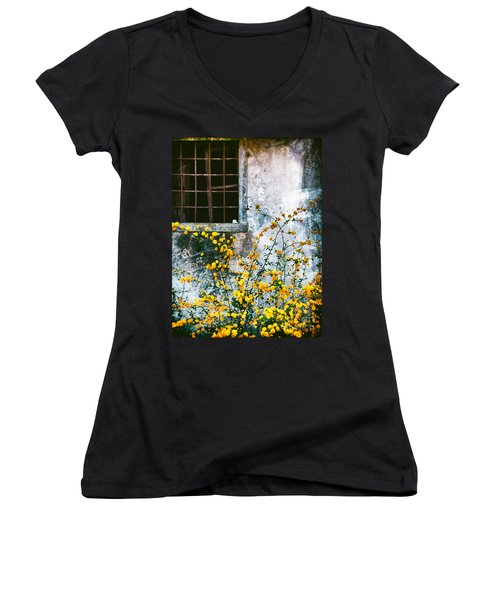 Women's V-Neck T-Shirt (Junior Cut) featuring the photograph Yellow Flowers And Window by Silvia Ganora