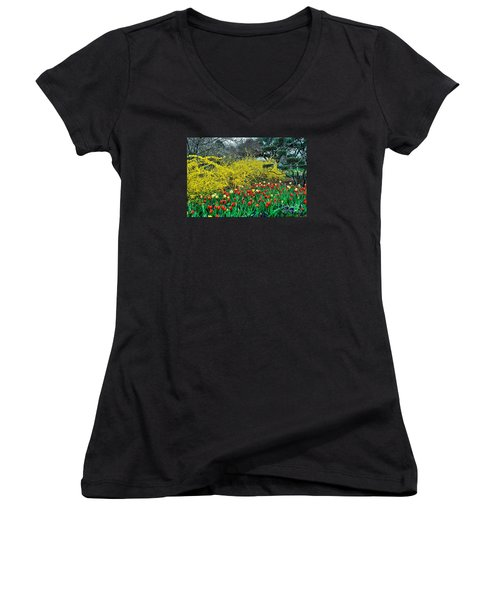Women's V-Neck T-Shirt (Junior Cut) featuring the photograph Yellow Forsythia by Diana Mary Sharpton