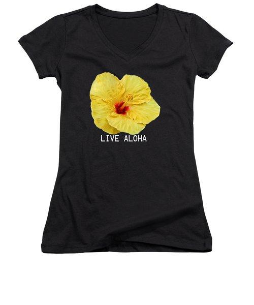 Yellow Hibiscus Women's V-Neck T-Shirt (Junior Cut) by Pamela Walton