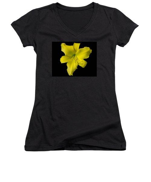 Yellow Lily Flower Black Background Women's V-Neck T-Shirt (Junior Cut) by Bruce Pritchett