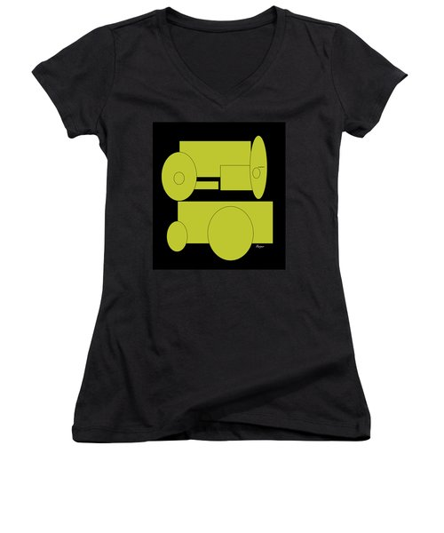 Women's V-Neck T-Shirt (Junior Cut) featuring the drawing Yellow On Black by Cathy Harper