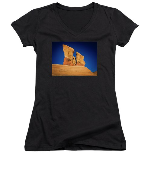 Women's V-Neck featuring the photograph Yellow Pillars by Edgars Erglis