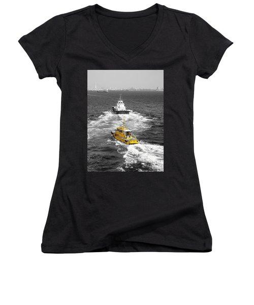 Yellow Pilot Yokohama Port Women's V-Neck T-Shirt (Junior Cut) by Susan Lafleur