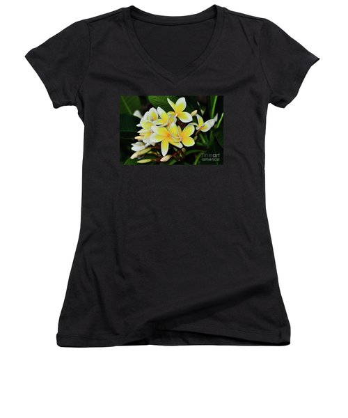 Women's V-Neck T-Shirt featuring the photograph Yellow Plumeria By Kaye Menner by Kaye Menner