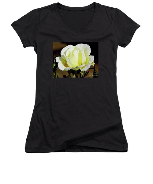 Yellow Rose Dew Drops Women's V-Neck