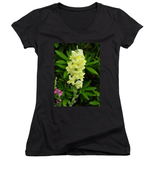 Yellow Snapdragon Women's V-Neck T-Shirt (Junior Cut) by Shirley Heyn