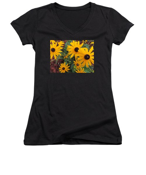 Yellow Stant Out Women's V-Neck T-Shirt