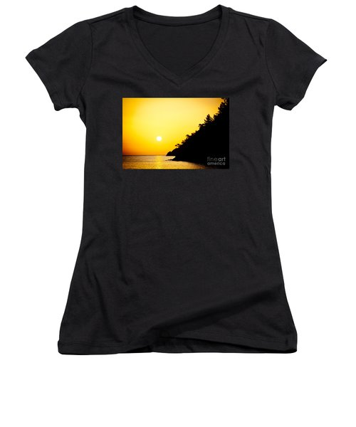 Yellow Sunrise Seascape And Sun Artmif  Women's V-Neck
