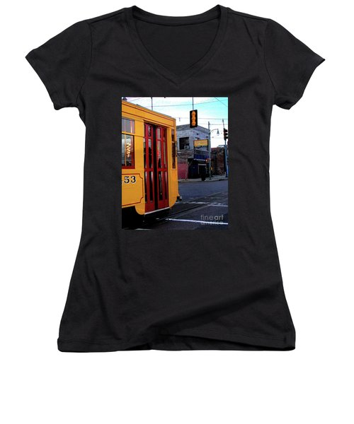 Yellow Trolley At Earnestine And Hazels Women's V-Neck (Athletic Fit)