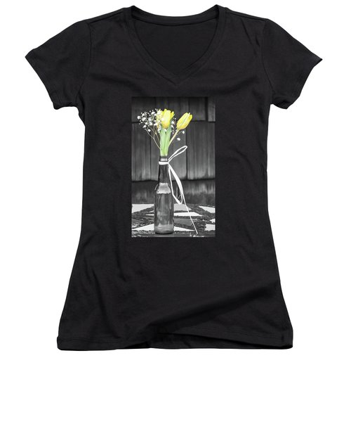 Women's V-Neck T-Shirt (Junior Cut) featuring the photograph Yellow Tulips In Glass Bottle by Terry DeLuco