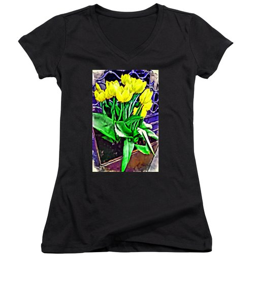 Women's V-Neck T-Shirt featuring the painting Yellow Tulips by Joan Reese