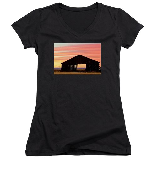 Yesterday And Today At Sunset Women's V-Neck