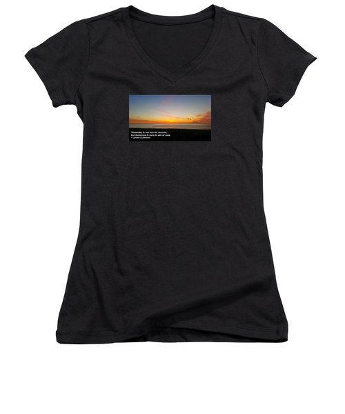 Women's V-Neck T-Shirt (Junior Cut) featuring the photograph Yesterday Is Not Ours... by Robert Banach