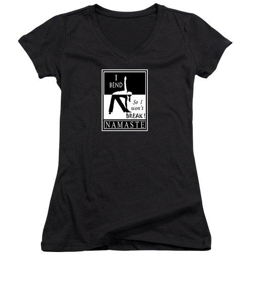 Yoga - Bend So You Won't Break Women's V-Neck T-Shirt (Junior Cut) by Vagabond Folk Art - Virginia Vivier