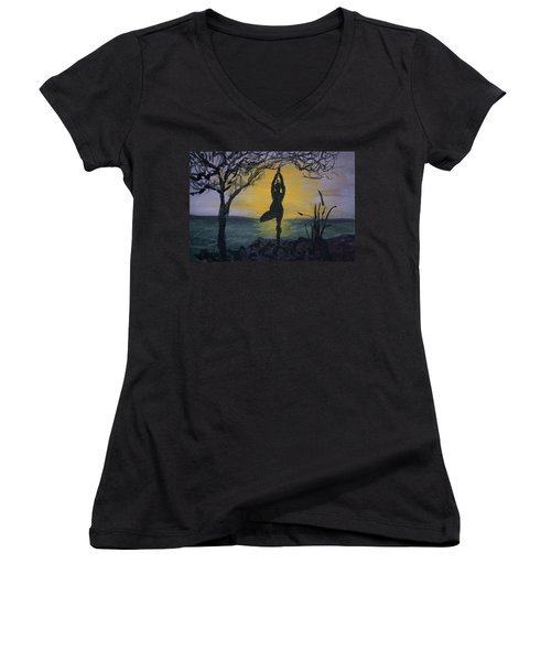 Yoga Tree Pose Women's V-Neck T-Shirt (Junior Cut) by Donna Walsh