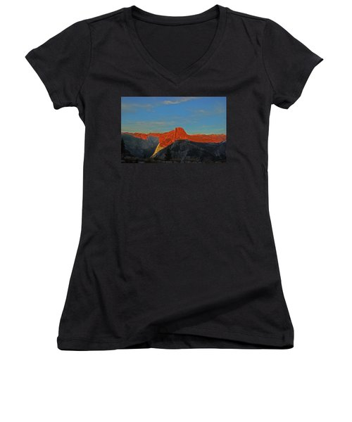 Women's V-Neck T-Shirt featuring the photograph Yosemite Summer Sunset Abstracted 1 by Walter Fahmy