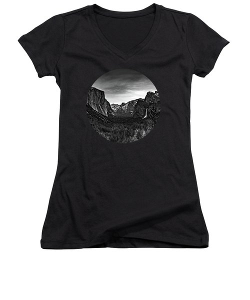 Yosemite Sunrise, Black And White Women's V-Neck T-Shirt (Junior Cut) by Adam Morsa