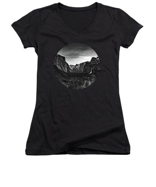 Yosemite Sunrise, Black And White Women's V-Neck