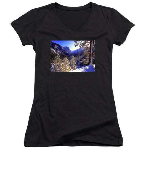 Yosemite Valley In Winter, California Women's V-Neck (Athletic Fit)