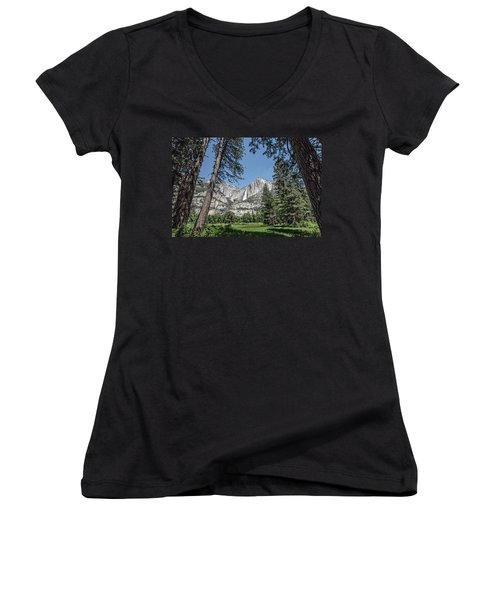 Yosemite View 13 Women's V-Neck T-Shirt (Junior Cut) by Ryan Weddle