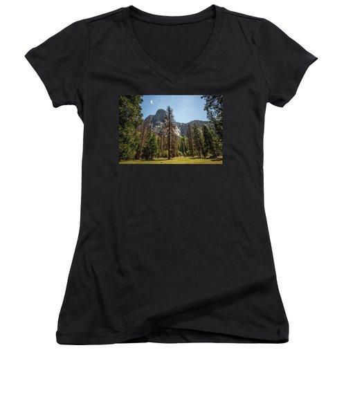 Yosemite View 18 Women's V-Neck T-Shirt (Junior Cut) by Ryan Weddle