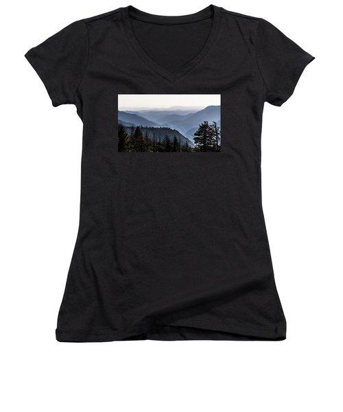 Yosemite View 27 Women's V-Neck T-Shirt (Junior Cut) by Ryan Weddle