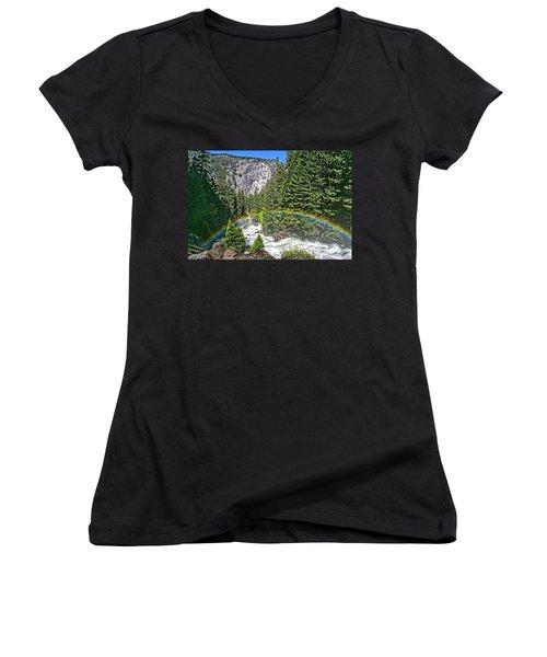 Yosemite View 29 Women's V-Neck T-Shirt (Junior Cut) by Ryan Weddle
